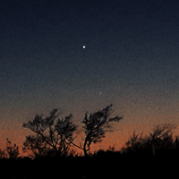 Venus and Mars in the sunset