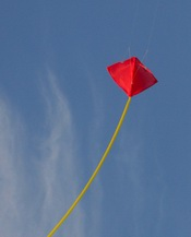 A kite flying against a blue sky