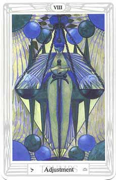 New Moon in Libra, the Scales - the Adjustment card from the Toth Tarot Deck